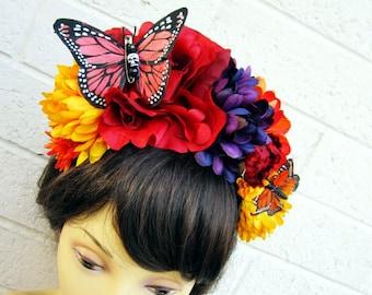 Dia De Los Muertos Headband, Day of the Dead, Flower Headband, Halloween Floral Headpiece, Costume