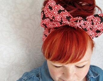 Peppermint Candy Bandana, Top Knot Bow Head Scarf, Christmas Bandana -Rockabilly, Pinup