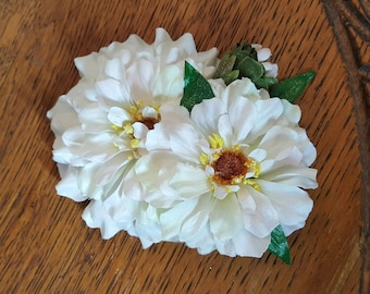 White Floral Hair Clip, Small Floral Hair Flower, Bridal Hair Clip, Flower Girl-Vintage Salvaged Floral Clips
