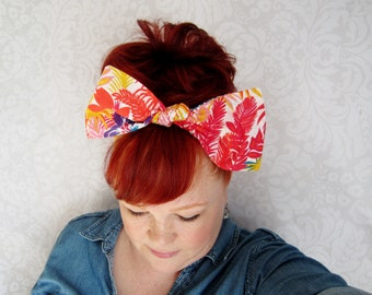 Vintage Tropical Headwrap Bandana Hair Bow Bow Bandana Head Scarf -Retro Rockabilly- LAST ONE!!!!!