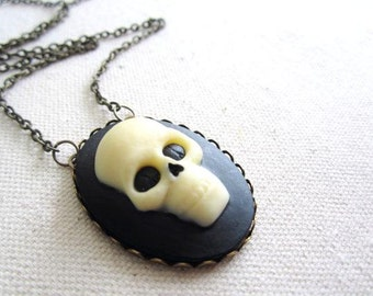 Skull Cameo Necklace, Large Skull Cameo, Gothic Jewelry, Skull Jewelry, Halloween Jewelry