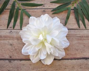 White Dahlia Hair Clip, Wedding Dahlia Hair Clip, White Hair Flower