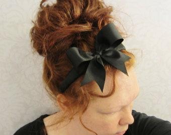 Black Bow Headband, Heabands for Women, Costume Headband, Womens Headband - Alice