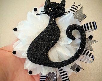 Spooky Black Cat Hair Clip, Halloween Hair Flower, Kitty Hair Accessorie