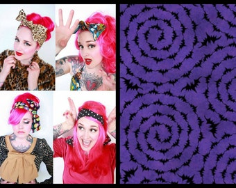 Bat Bandana, Halloween Headscarf, Self Tie Bow Top Know Headwrap, Rockabilly Bow Bandana