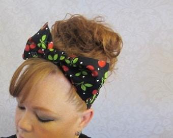 Cherry Bandana, Cherries Headwrap, Top Knot Bandana Large Bow