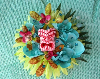 Tiki Hair Clip, Tropical Hair Accessorie, Hawaiian Flowers, Tiki Oasis Clip, Pinup Flower- TIKI TIKI TIKI