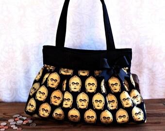 Star Wars Handbag, Large C3PO Handbag, Star Wars Bag, C3PO Purse, Star Wars Purse, Geek Purse, Pop Culture, Purse with Pockets, Geek Chic