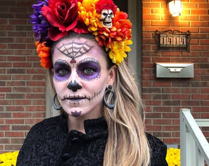 Featured listing image: Dia De Los Muertos Headband, Day of the Dead Headpiece, Flower Crown, Day of the Dead Headband, Day of the Dead Headdress
