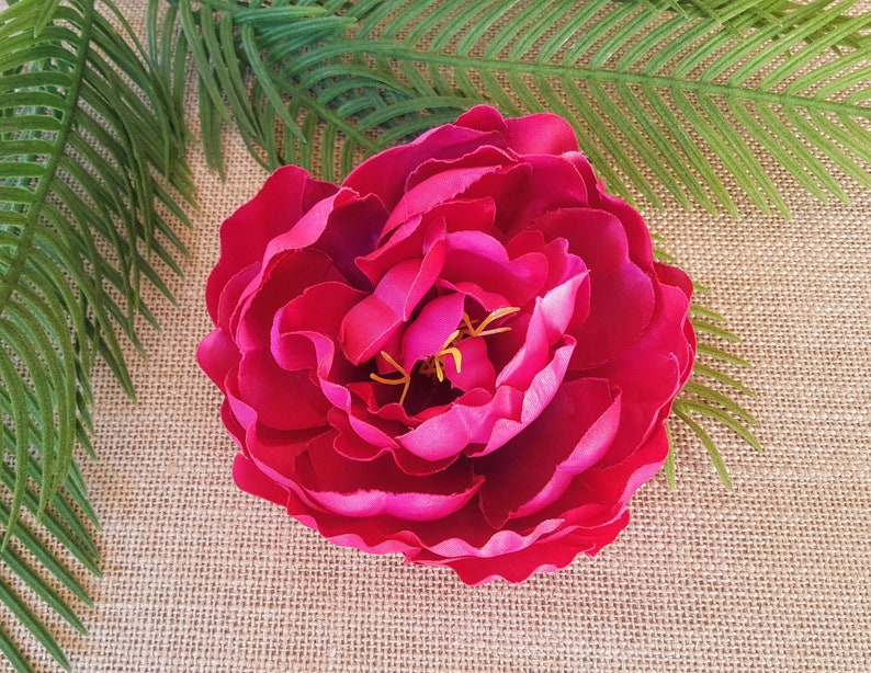 Pink Fuchsia Peony Hair Flower Clip  Valentine Hair image 0