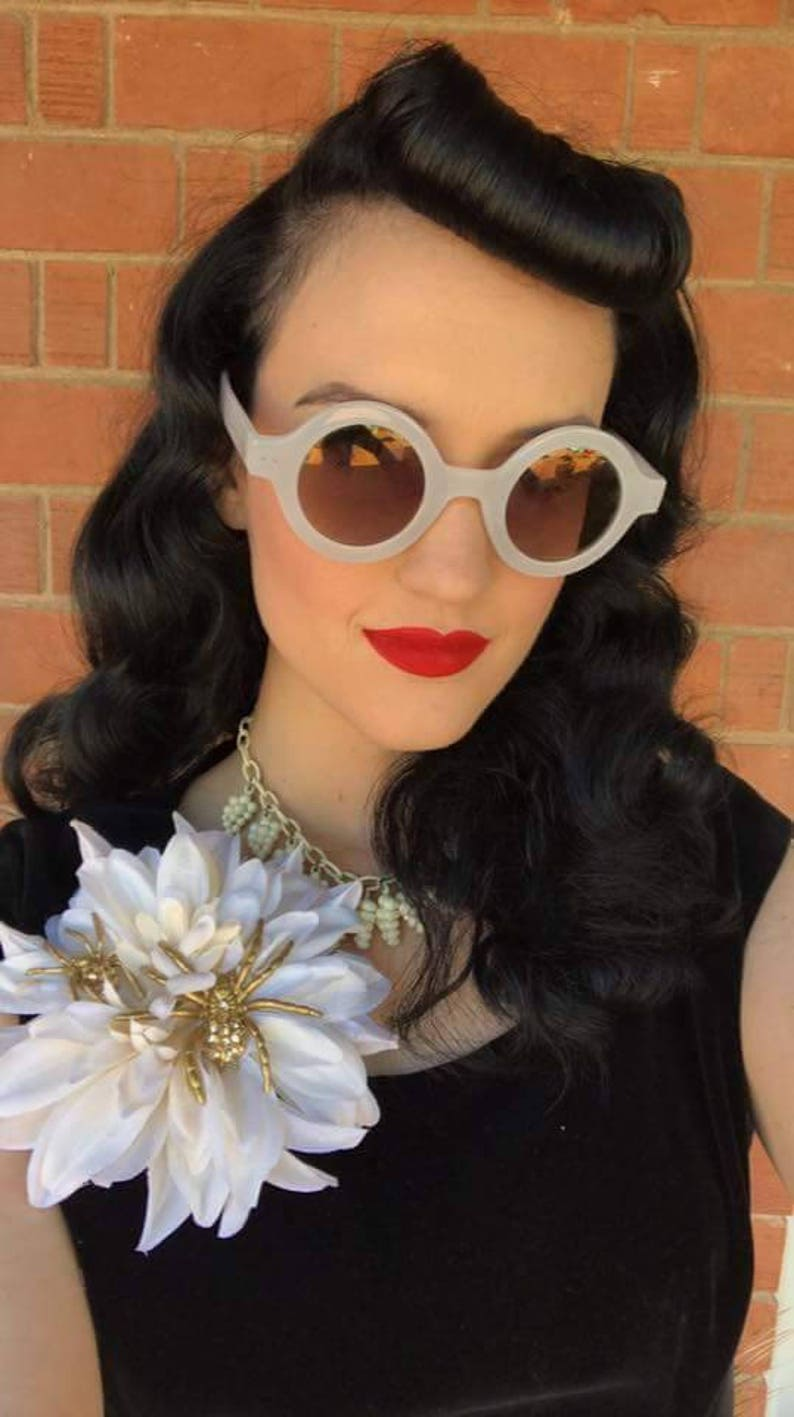 1940s Hair Snoods- Buy, Knit, Crochet or Sew a Snood     Gold Swarovski Spider Dahlia Spider Hair Clip Gothic Hair Clip Halloween Hair Clip Spooky Hair Accessorie Pinup Hair Clip $28.99 AT vintagedancer.com