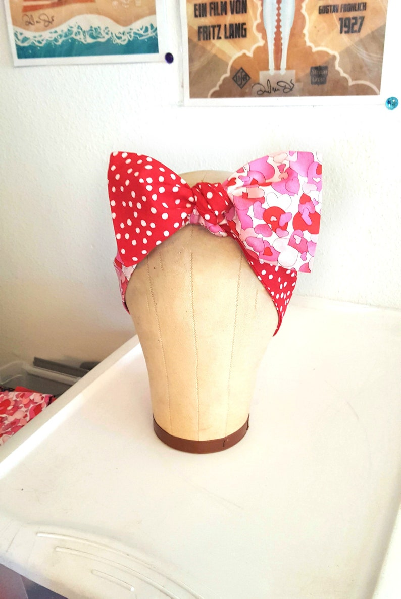 Valentine Quilted Hearts and Polka Dot Fabric Headband image 0