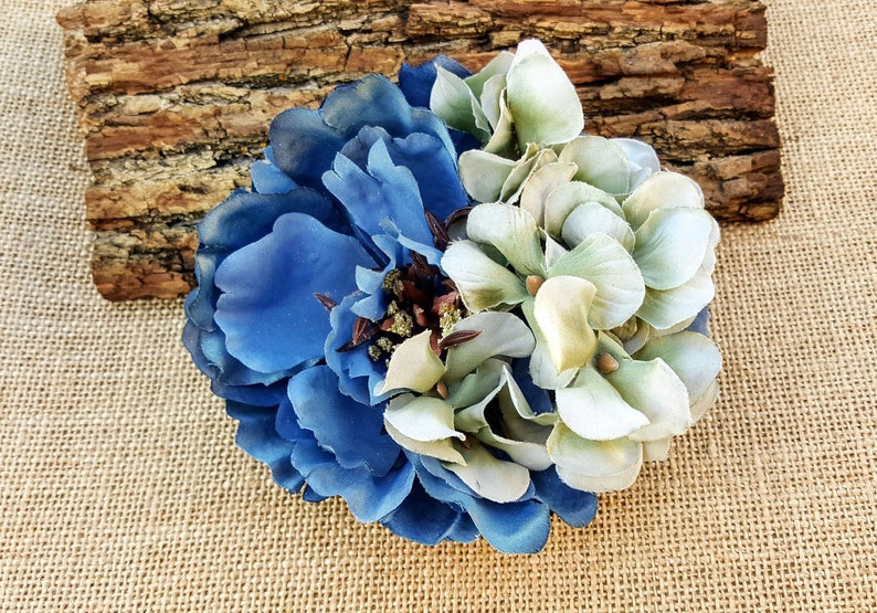 Blue and Green Peony Hair Clip Shabby Chic Hair Flower Peony image 0