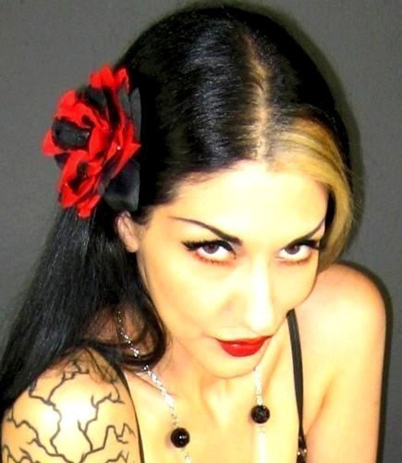 Black and Red Rose Hair Clip Rockabilly Pinup Psychobilly image 0