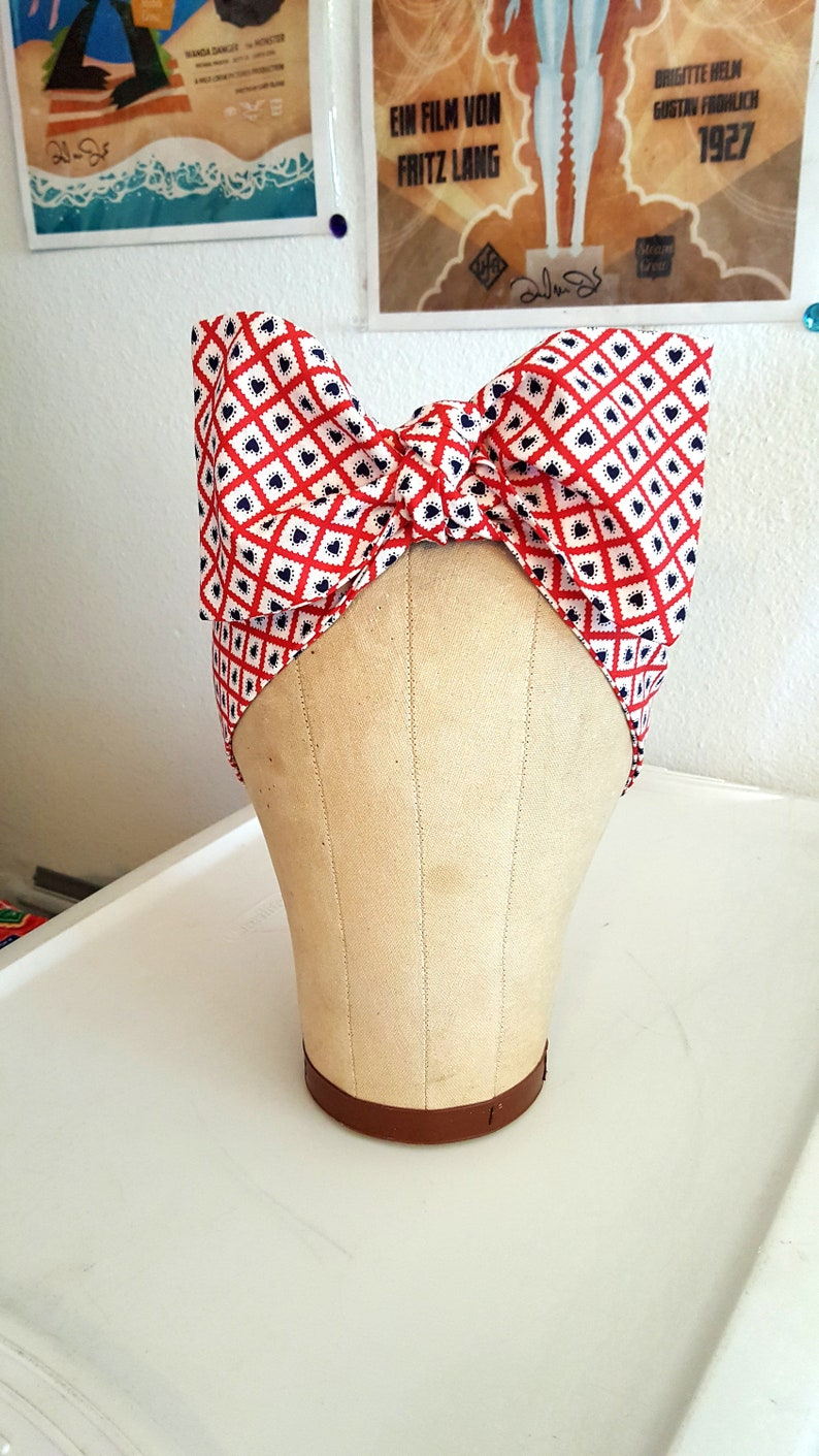 Vintage Americana Bandana Red White and Blue Headwrap image 0