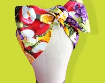 Fruit Print Bandana, Tiki Rockabilly Headwrap,Pinup Head Scarf,  Fabric Headband
