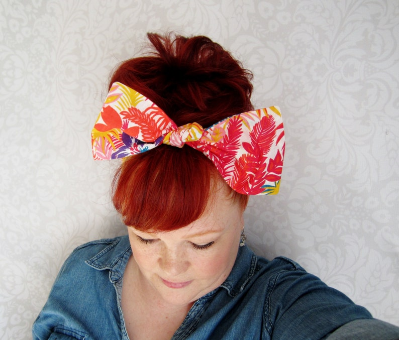 1940s Hairstyles- History of Women's Hairstyles Vintage Tropical Headwrap Bandana Hair Bow Bow Bandana Head Scarf -Retro Rockabilly $10.00 AT vintagedancer.com