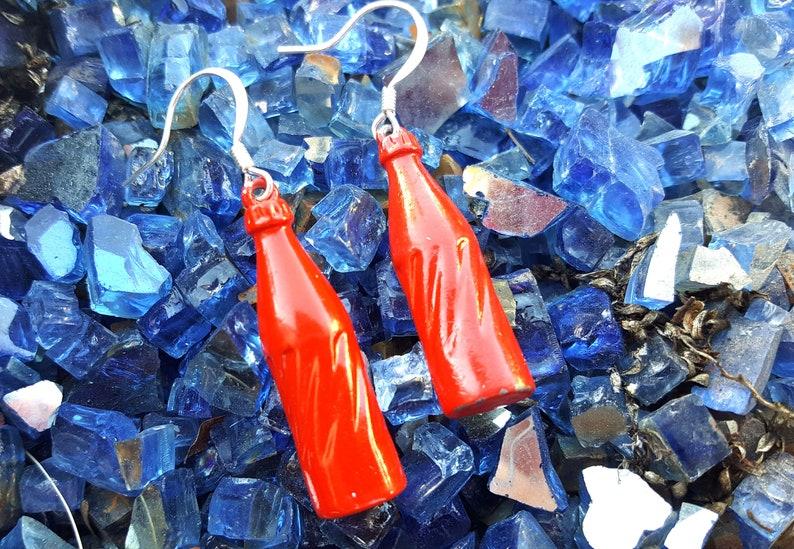 Vintage Soda Bottle Earrings Red Metal Pop Bottle  Dangle image 0