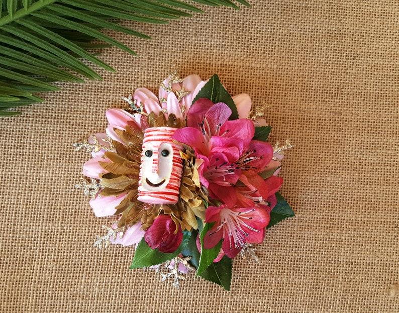 Pink Tiki Bob Hair Clip Tiki Accessory Tropical Hair Clip image 0