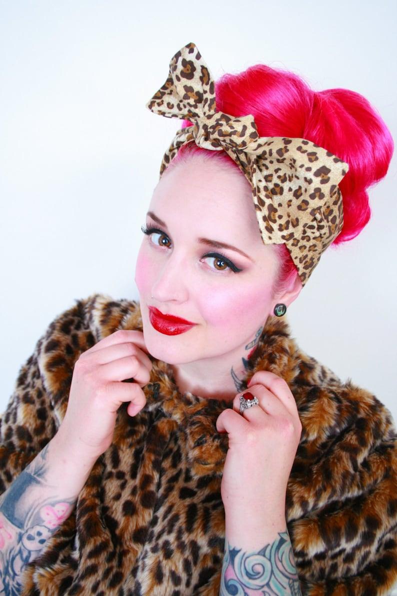 Leopard Print Hair Bow Bandana Head Scarf Pinup Rockabilly image 0