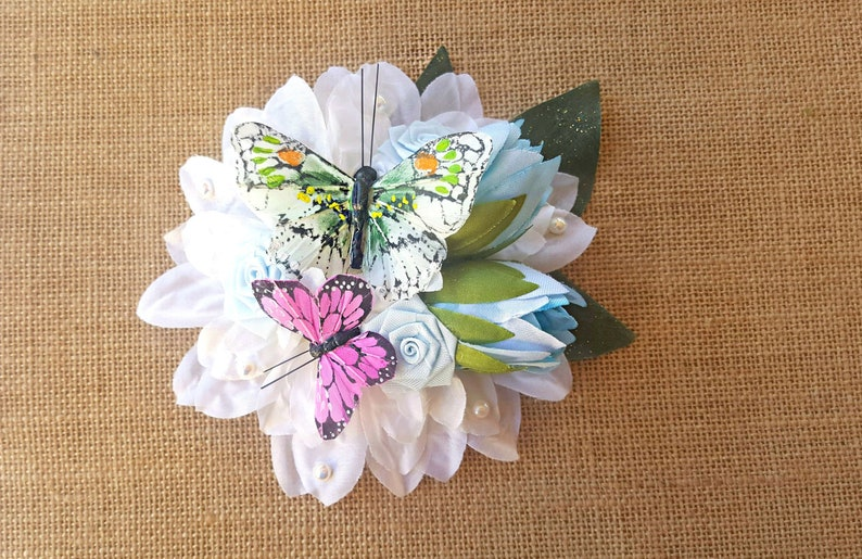 Butterfly Floral Hair Clip Spring Hair Flower Pinup READY image 0