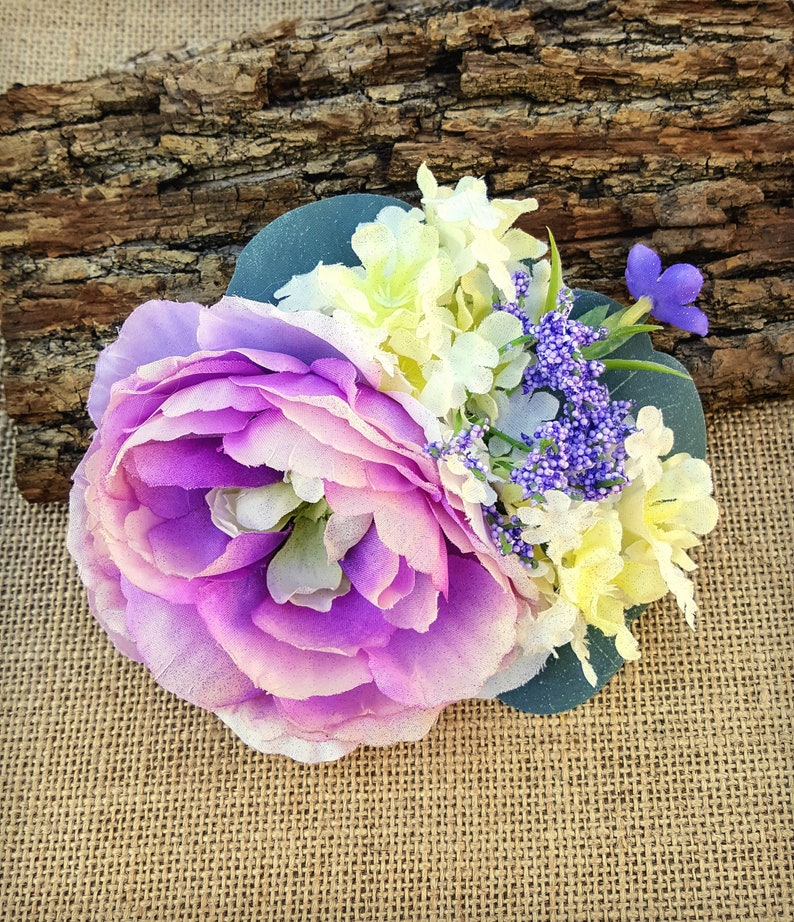 Lilac Floral Hair Clip Purple and Ivory Rustic Floral Hair image 0