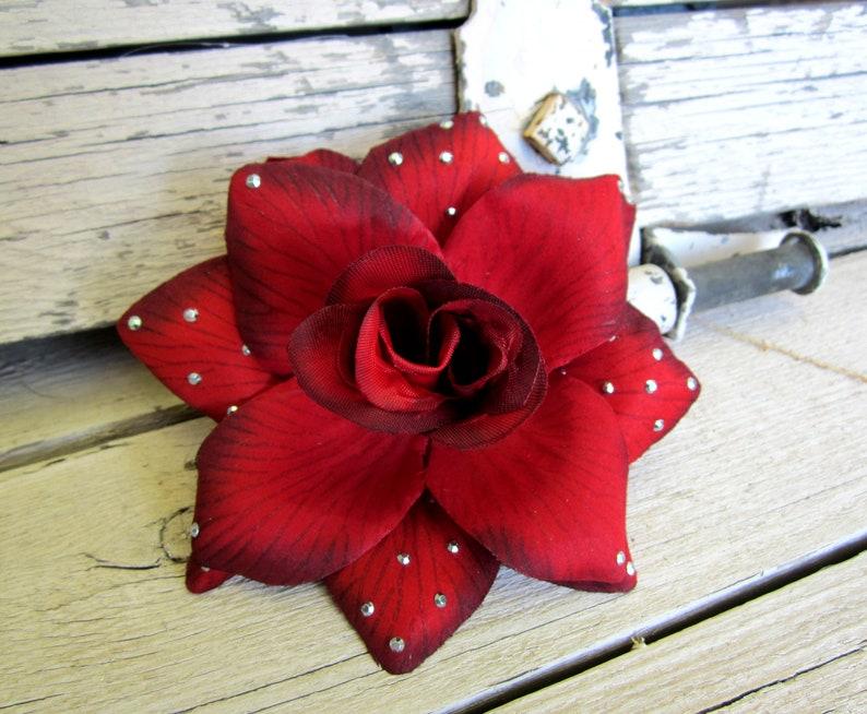 Dark Red Rose Gunmetal Stones Pinup Hair Clip Red Rose Hair image 0