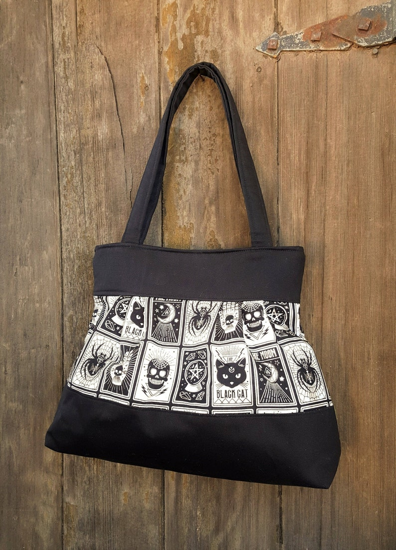 Tarot Cards Handbag Tote  Witch Fabric Purse with Pockets image 0