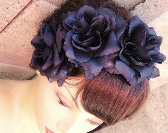 Black Rose Headband, Floral Headband, Floral Crown
