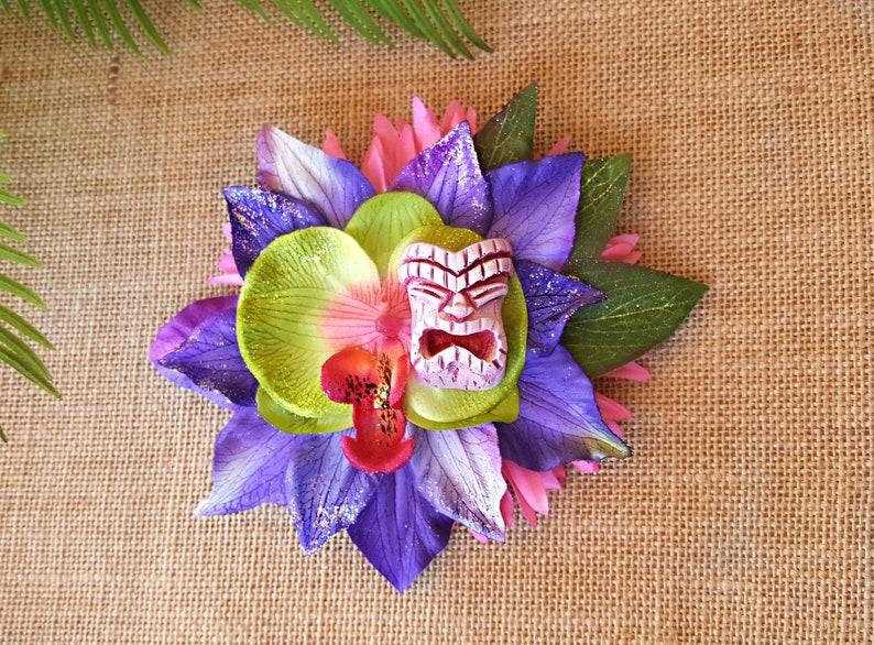 Tiki Hair Clip Pinup Tiki Hair Flower Beach Tropical Hair image 0