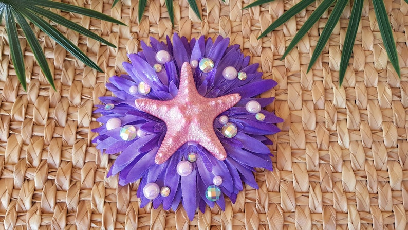 Mermaid Hair Clip Pink Starfish Hair ClipFascinator Pinup image 0