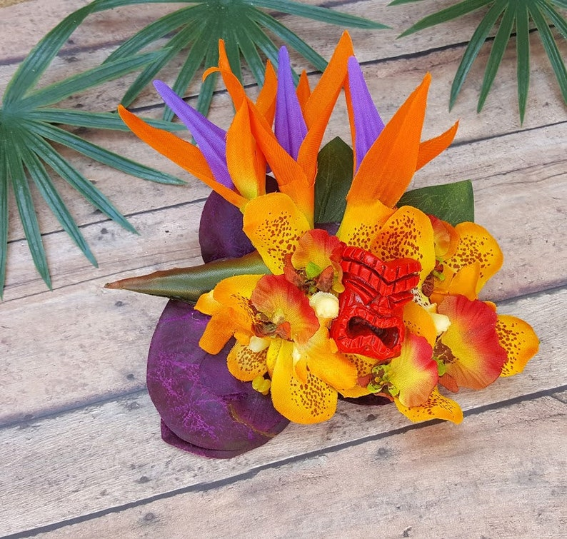 Retro Tiki Dress – Tropical, Hawaiian Dresses Tiki Fascinator Tropical Hair Clip Odd Rodney Tiki Beach Hair Pinup Accessorie Beach Weddings Oasis Hawaiian Flower Purple $28.00 AT vintagedancer.com