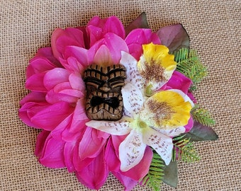 Tiki Retreat Tropical Hair Clip, Tropical Fascinator, Odd Rodney, Destination Wedding