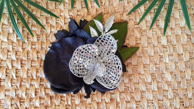 Black and Silver Orchid Tiki Hair Clip-Tropical Accessory image 0