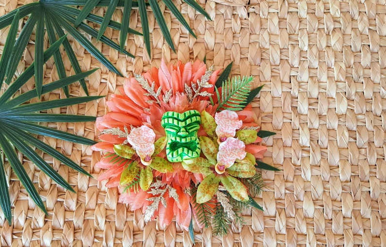 Lime Crusher Tropical Tiki Hair Clip Tiki Fascinator Odd image 0