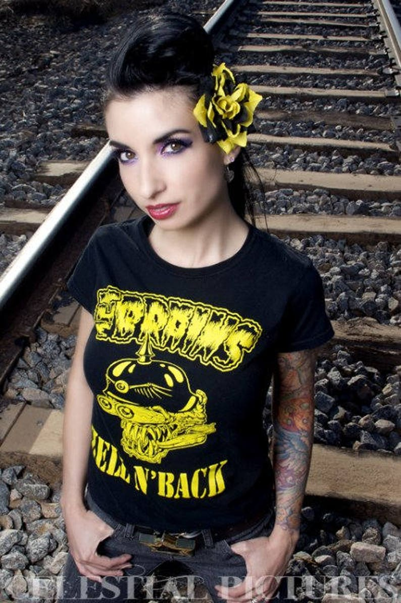 Black and Yellow Rose Hair Clip Rose Hair Clip Psychobilly image 0