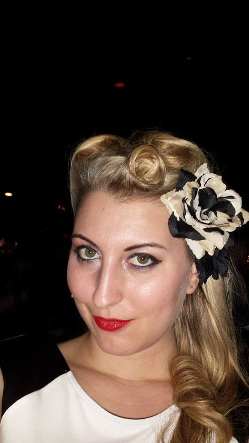 Black and Tan Rose Hair Clip Pin Up Hair Flower Rockabilly image 0