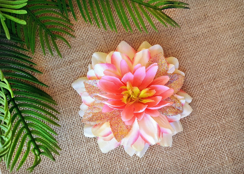 Pink and Cream Shimmer Dahlia Hair Clip Pink Hair Flower image 0