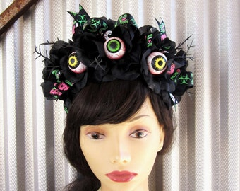 Gothic Headband, Zombie Halloween Headband, Eyeballs, Horror