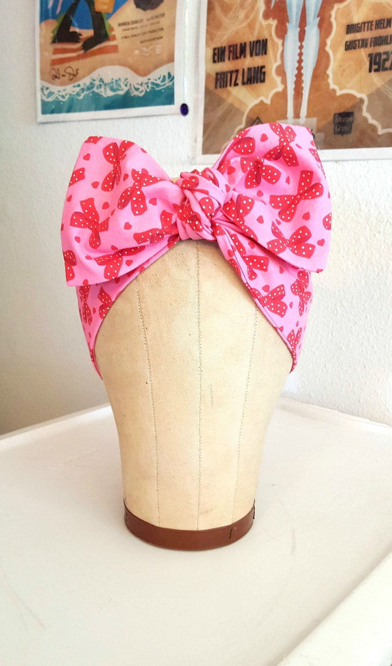 Rockabilly Valentine Bow and Hearts Bandana Pink and Red image 0