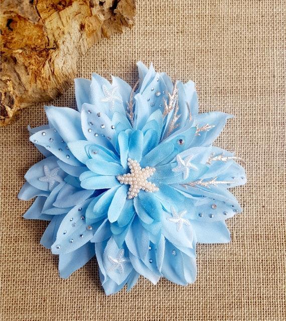 Fiore Blu Glitter per Capelli Clip Tropical Beach Party Costume Accessorio