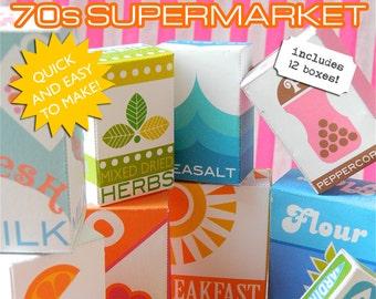 70s Supermarket Printable PDF Play Shop - 12 Grocery Boxes