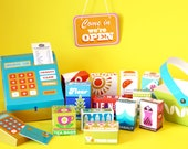 CLEARANCE - DIY Paper Toy Retro Supermarket Play Shop Kit - 6 Glossy Printed A4 Card sheets