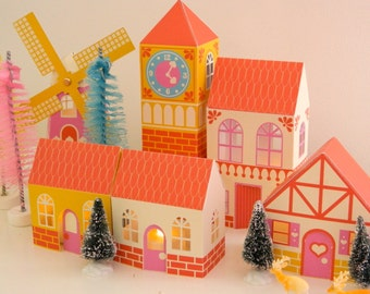 Printable PDF European Village Kit DIY Christmas Village Scene