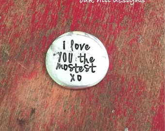 76b1e20cd1af Pewter pocket token-anniversary gift-pocket pebble-groom gift-love you the  mostest