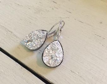 Druzy Earrings 18K Gold Plated Earrings Marquise Earrings Marquise Druzy Earrings PG0972E2 Drusy Naturals Diamond Druzy Druzy