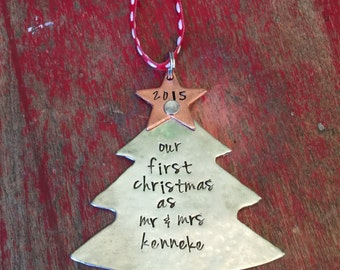 Our first Christmas ornament-stamped personalized ornament