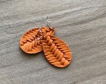Pumpkin fishtail leather teardrop earrings-super lightweight