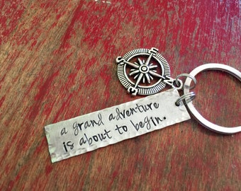 A grand adventure is about to begin-Winnie the Pooh quote-inspirational-encouragement-hand stamped keychain