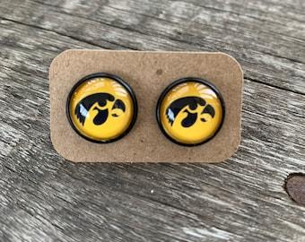 Iowa earrings-School spirit earrings-tiger hawk earrings